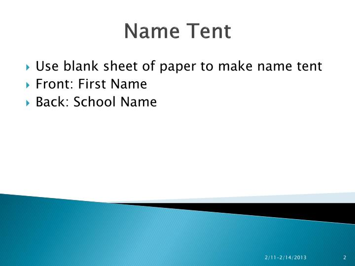 Name tent