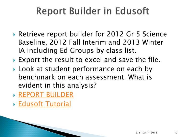 Report Builder in Edusoft