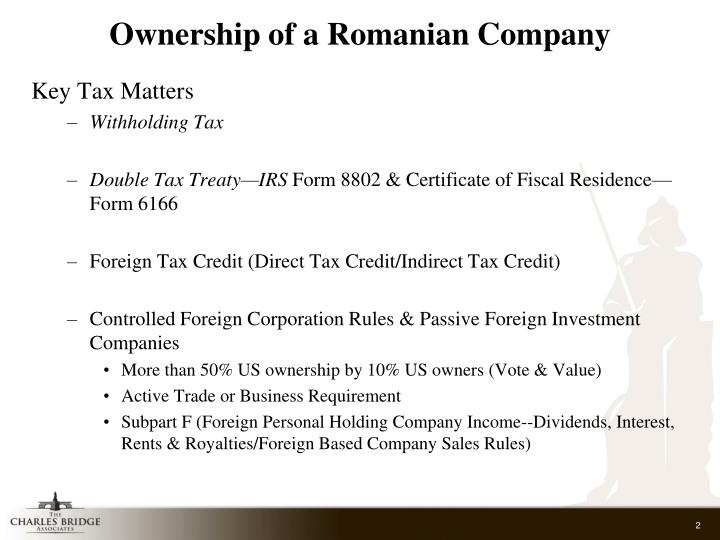 Ppt Us International Tax Implications Of Doing Business In Romania