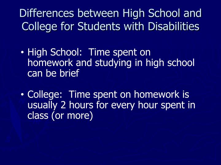 Difference between highschool and college essay