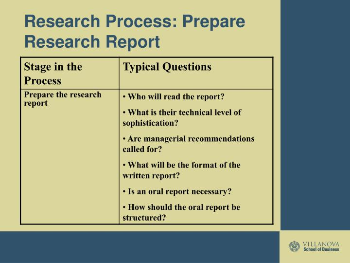 Research Process: Prepare Research Report