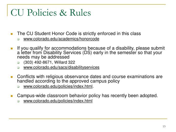 CU Policies & Rules