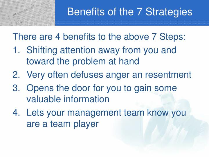 Benefits of the 7 Strategies
