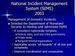 national incident management system nims 2003