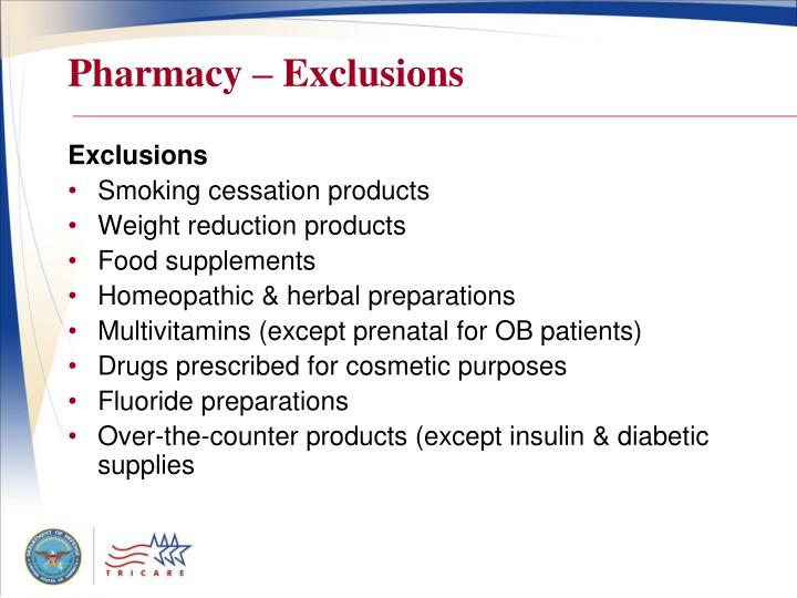 Pharmacy – Exclusions