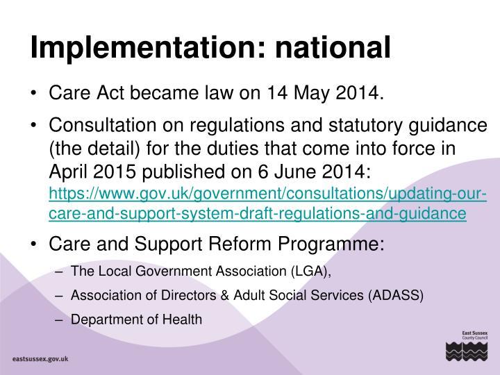 Implementation: national