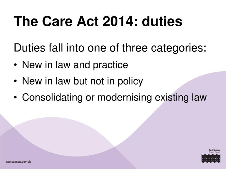 The Care Act 2014: duties