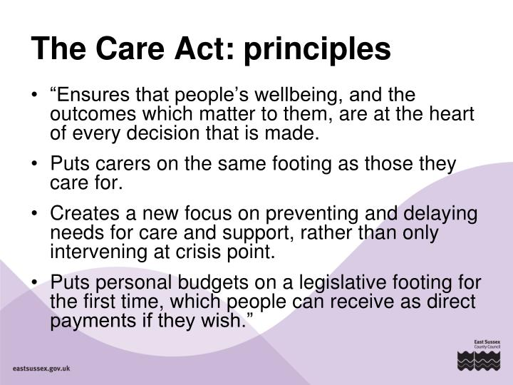 The Care Act: principles
