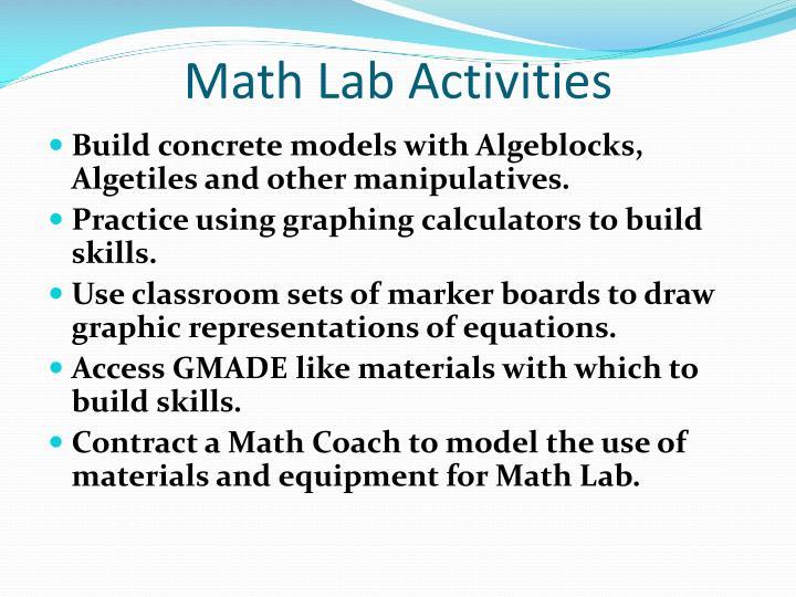Math Lab Activities