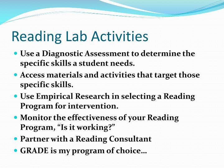 Reading Lab Activities