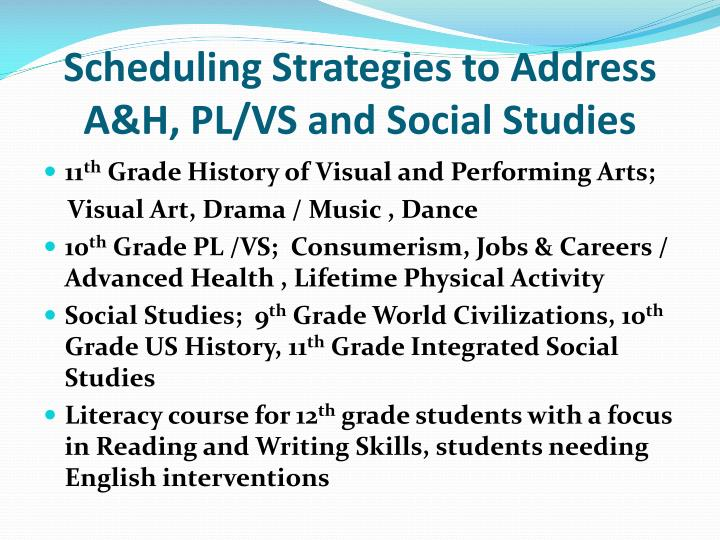 Scheduling Strategies to Address A&H, PL/VS and Social Studies