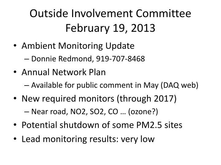 outside involvement committee february 19 2013 n.