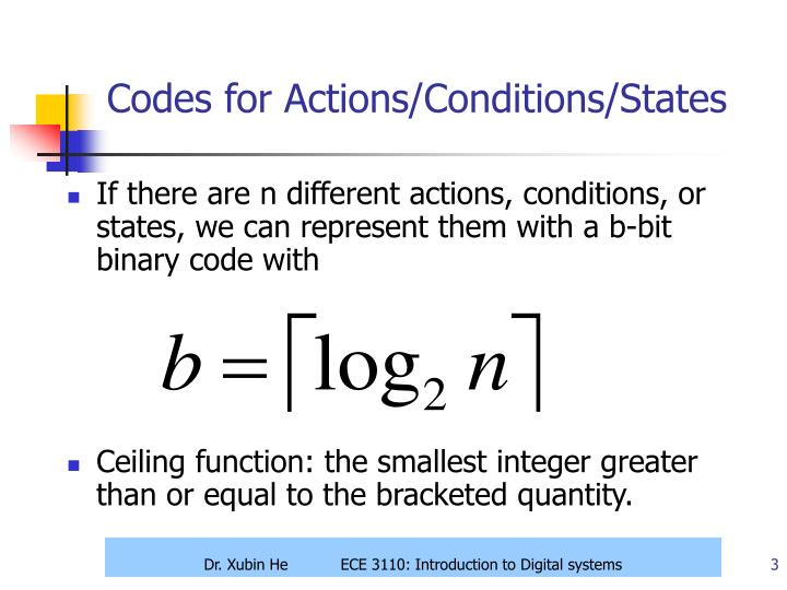Codes for actions conditions states