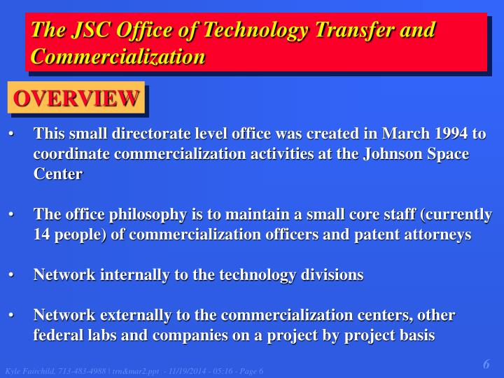 The JSC Office of Technology Transfer and Commercialization