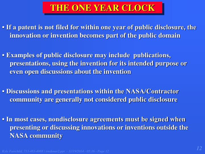 THE ONE YEAR CLOCK