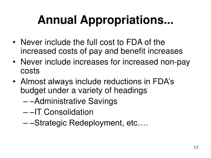 Annual Appropriations...