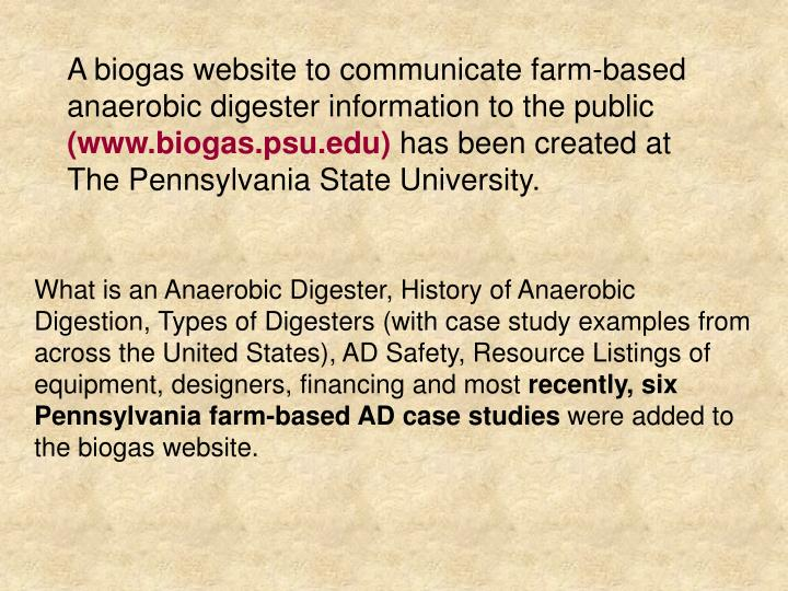 A biogas website to communicate farm-based anaerobic digester information to the public