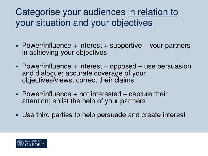 Categorise your audiences