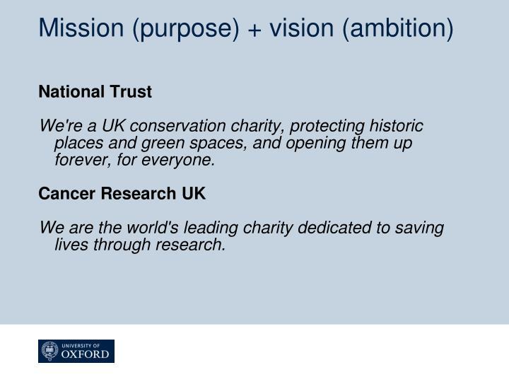Mission (purpose) + vision (ambition)