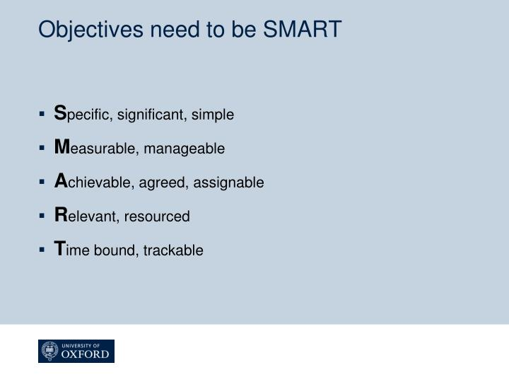 Objectives need to be SMART