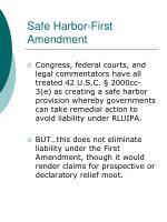 safe harbor first amendment