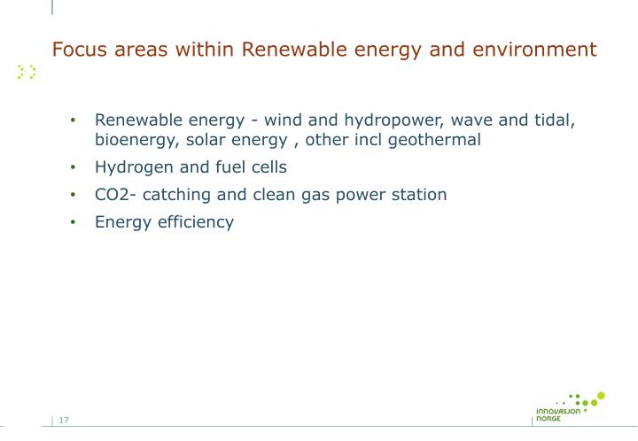 Focus areas within Renewable energy and environment