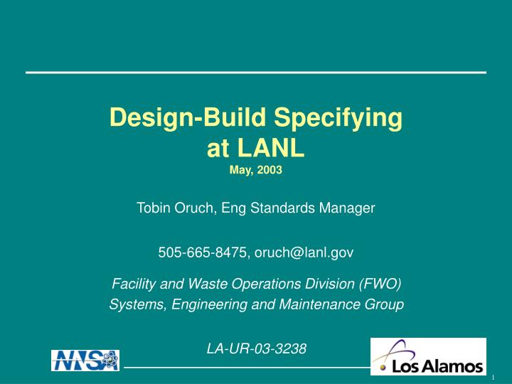 design build specifying at lanl may 2003