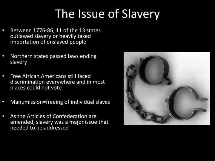 Between 1776-86, 11 of the 13 states outlawed slavery or heavily taxed importation of enslaved people