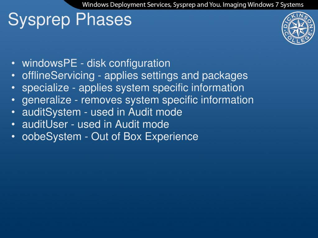 PPT - Windows Deployment Services Sysprep and You PowerPoint