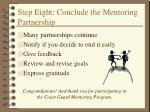 step eight conclude the mentoring partnership
