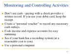 monitoring and controlling activities
