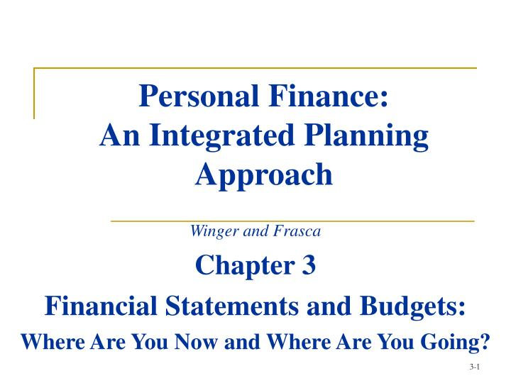 personal finance an integrated planning approach