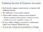 updating income expense accounts