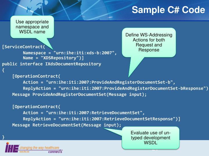 Sample C# Code