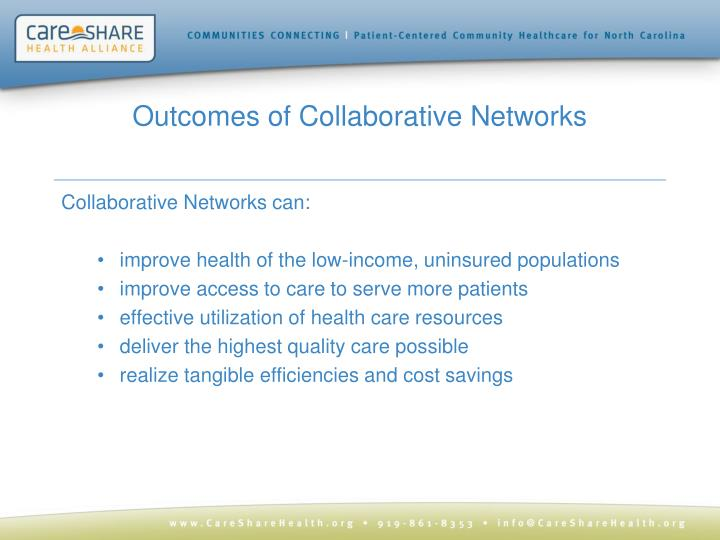 Outcomes of Collaborative Networks