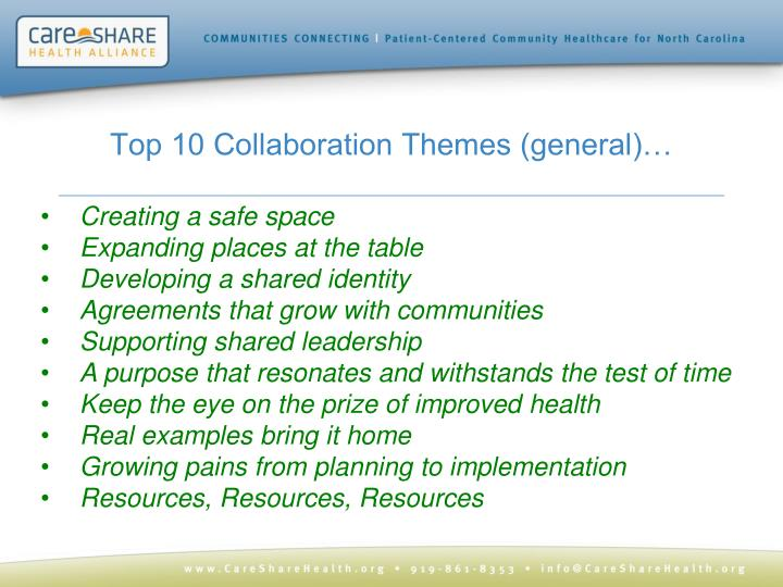 Top 10 Collaboration Themes (general)…
