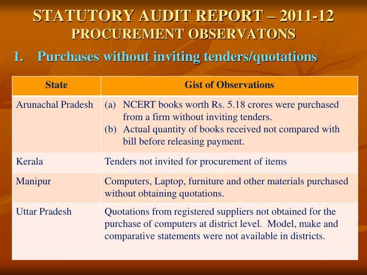 Statutory audit report 2011 12 procurement observatons