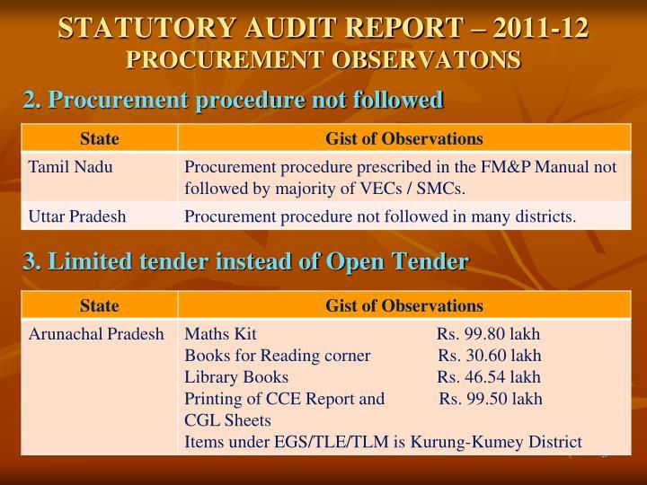 Statutory audit report 2011 12 procurement observatons1