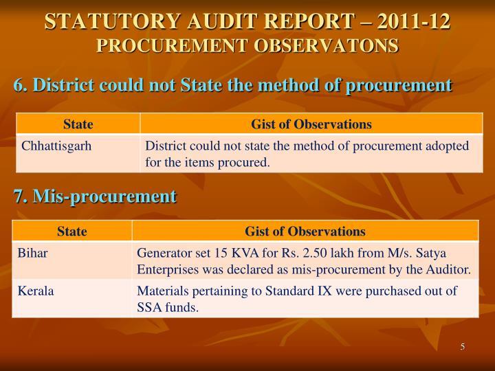 STATUTORY AUDIT REPORT – 2011-12