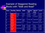 example of staggered reading blocks with walk and read