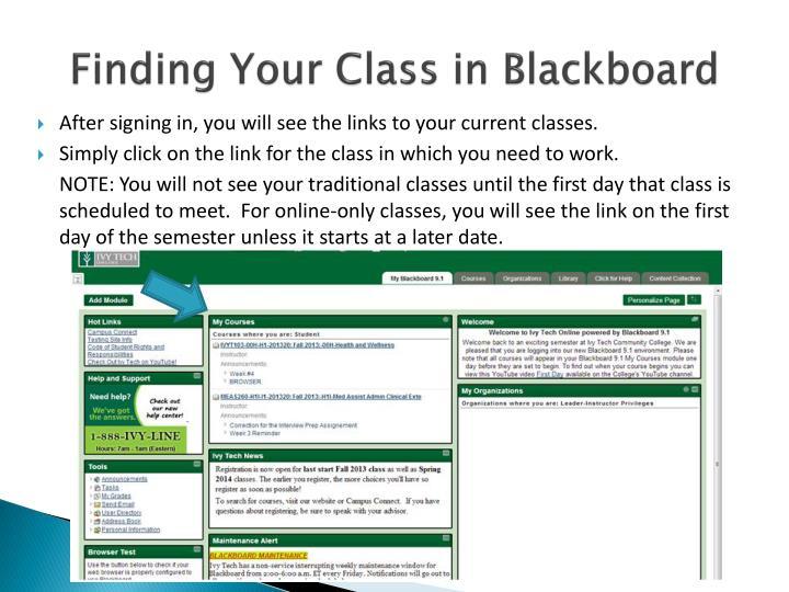 Finding Your Class in Blackboard