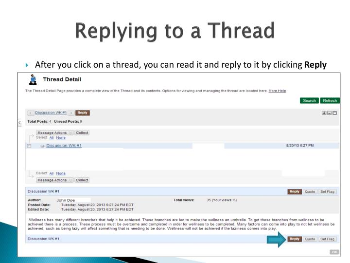 Replying to a Thread