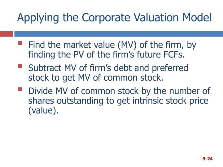 Applying the Corporate Valuation Model