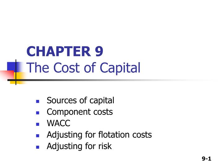 chapter 9 the cost of capital n.