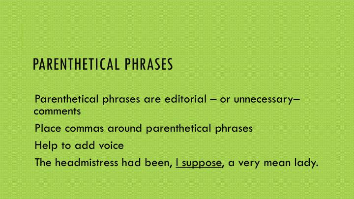 Parenthetical Phrases