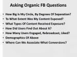 asking organic fb questions