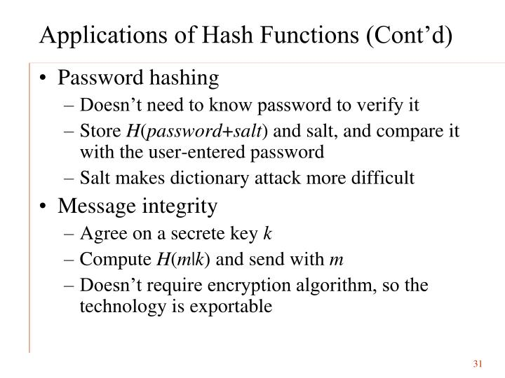 Applications of Hash Functions (Cont'd)