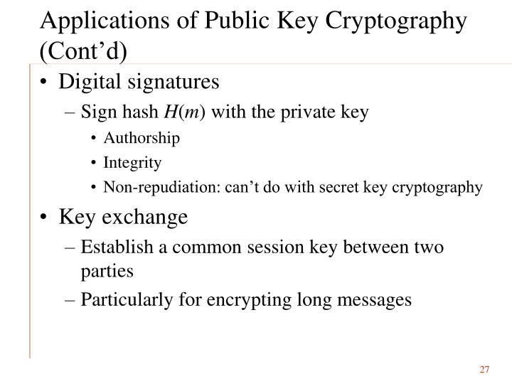 Applications of Public Key Cryptography (Cont'd)