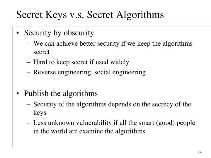 Secret Keys v.s. Secret Algorithms