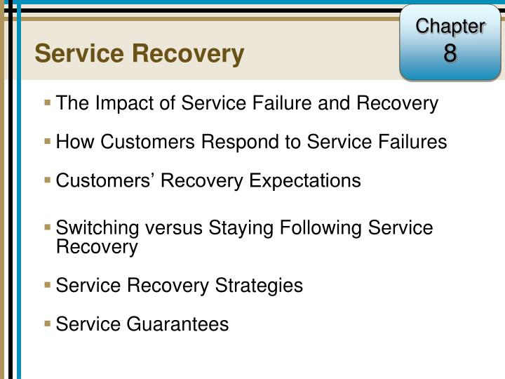 service failures and service recovery strategies Research on service failure and service recovery from relationship perspective at first, this paper has reviewed the theory about the service guarantee, service failure, service recovery, customer trust, affective commitment, repurchase intention and word-of-mouth.